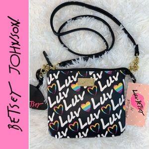 💗LUV Betsey Johnson Black/Rainbow Crossbody bag!
